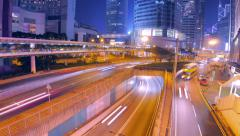 Hong Kong modern city. Timelapse of roads at night. - stock footage