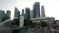 4K Panning of Singapore Waterfront with Merlion Stock Footage