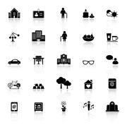 retirement community icons with reflect on white background - stock illustration
