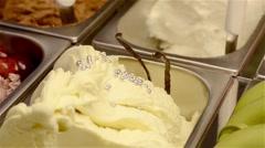 Italian gelato ice cream and vanilla pods Stock Footage
