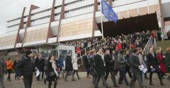 People leaving Council of Europe building Stock Footage