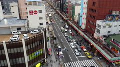 Time Lapse - Traffic on Busy Boulevard from Above - Tokyo Japan Stock Footage