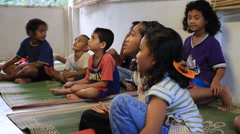 Kids in Micronesia Learn at Children's Club - stock footage