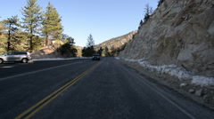 Driving Plates Mountains Snow CAM1 Front 04 Forest California Stock Footage