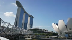 4K Panning view of Artcience Museum, Singapore Stock Footage