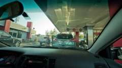 Gas Station Windshield Interior Car Rearview Mirror Car Woman Waiting Pump Stock Footage