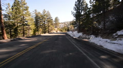 Driving Plates Mountains Snow CAM1 Front 09 Forest California Stock Footage
