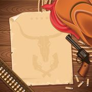 wild west background with cowboy hat and revolver - stock illustration