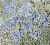 Scenic abstract floral background with blue flowers and branches with snow ma Stock Illustration