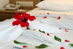 Decorated Hotel Bed - stock photo