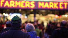 Rushing Crowd Walking Towards Farmer's Market Arkistovideo