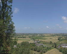 View across French landscape from Mont Dol, coast English Channel in background Stock Footage