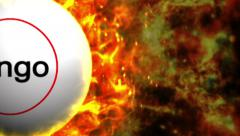 Fiery Bingo Ball, with Alpha Channel Stock Footage
