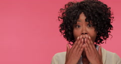 Young African American black woman surprised reaction face Stock Footage