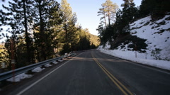 Driving Plates Mountains Snow CAM2 Rear 08 Forest California Stock Footage