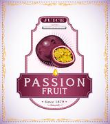 Passion fruit label for food or juice product - stock illustration