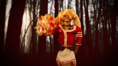 Creepy cheerleader horror - stock footage