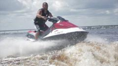Man on jet ski acrobatic in slow motion 5 - stock footage