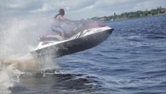 Man on jet ski acrobatic in slow motion 6 Stock Footage