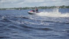 Man on jet ski acrobatic in slow motion 7 Stock Footage