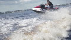 Man on jet ski acrobatic in slow motion 8 Stock Footage