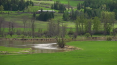 Shuswap river valley, slow meandering river Stock Footage