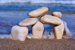 Stones and pebbles on the beach Stock Photos