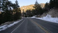 Driving Plates Mountains Snow CAM2 Rear 14 Forest California Stock Footage