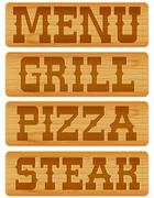 Nameplate of wood with words Menu Grill Steak Pizza. Stock Illustration