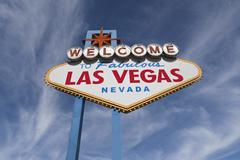 las vegas welcome sign with cirrus clouds - stock photo