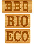 Nameplate of wood with words BBQ BIO ECO Stock Illustration