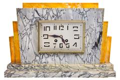 art deco design marble clock from the early twentieth century - stock photo