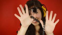 Music woman fancy glasses hands wire Stock Footage