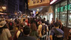 Mob crowd of people walking through Downtown Los Angeles - stock footage