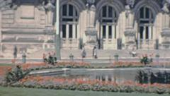 Tours 1949: people walking in front of Hotel de Ville Stock Footage