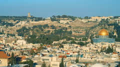26 Jerusalem, panoramic shot, Dome of the Rock Mosque with Jerusalem Skyline - stock footage