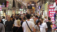 Tourists visiting Grand Bazaar in Istanbul, turkey Stock Footage