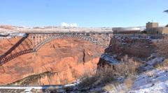 Arizona winter Glen Canyon Dam bridge HD 061 Stock Footage