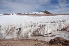Standing ice in Atacama desert in Andes Stock Photos