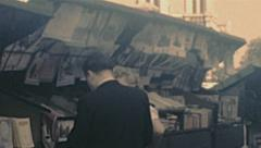 Paris 1949: book stands near Notre Dame Stock Footage