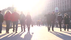 Stock Video Footage of People walking the Independence Square, Kyiv, a year after the tragic events