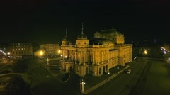HD Croatian national theater in Zagreb - aerial Stock Footage