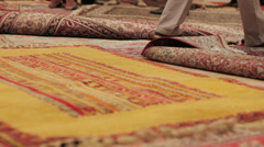 Oriental carpets at a roadside carpetshop in Turkey Stock Footage