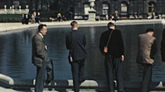 Paris 1949: people in front of Luxembourg palace Stock Footage
