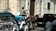 Dominican Republic Santo Domingo Caribbean Sea 026 Colonial City horse and cart Stock Footage