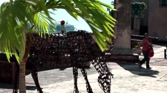 Dominican Republic Santo Domingo Caribbean Sea 016 iron horse statue Stock Footage