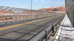 Arizona Glen Canyon Dam winter traffic across bridge HD 058 Stock Footage