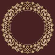 Geometric Abstract Seamless Vector Pattern with Round Golden Ornament Stock Illustration