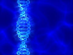 blue dna (deoxyribonucleic acid) background with waves - stock illustration