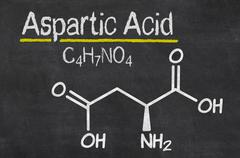blackboard with the chemical formula of aspartic acid - stock illustration